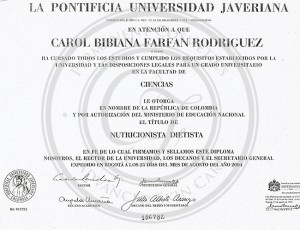 Diploma Carol Furey nutricionista dietista
