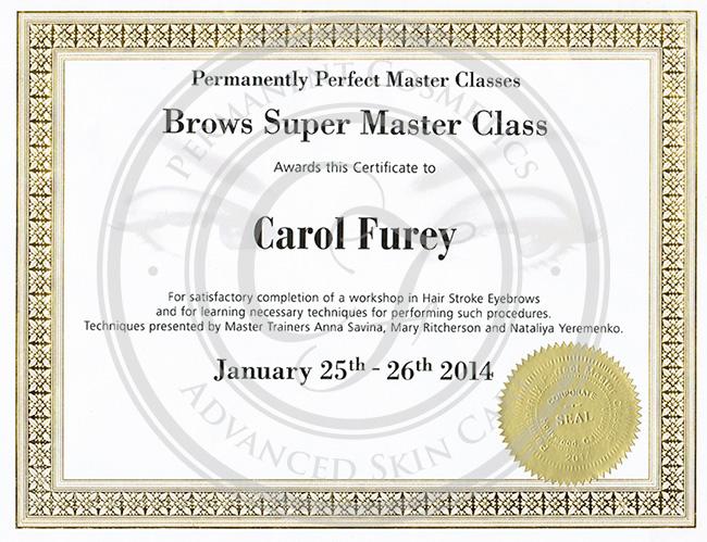 Certificado Carol Furey Super Master Class de cejas