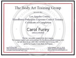 Certificado Carol Furey entrenamiento patógenos en la sangre