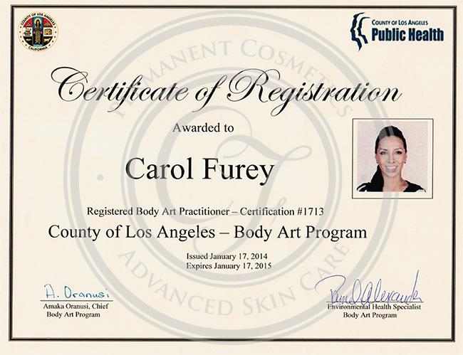 Certificado Carol Furey practicante en arte corporal