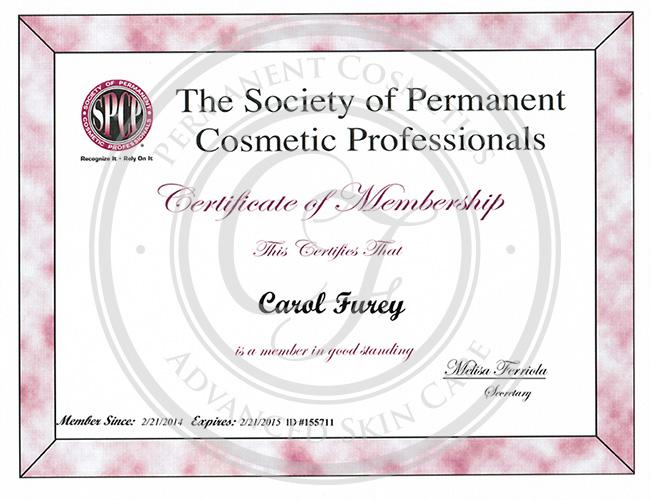 Certificado de membresía Sociedad de Profesionales en Cosméticos Permanentes