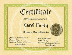 Certificado Carol Furey técnica en maquillaje permanente