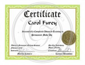 Certificado Carol Furey entrenamiento avanzado en maquillaje permanente