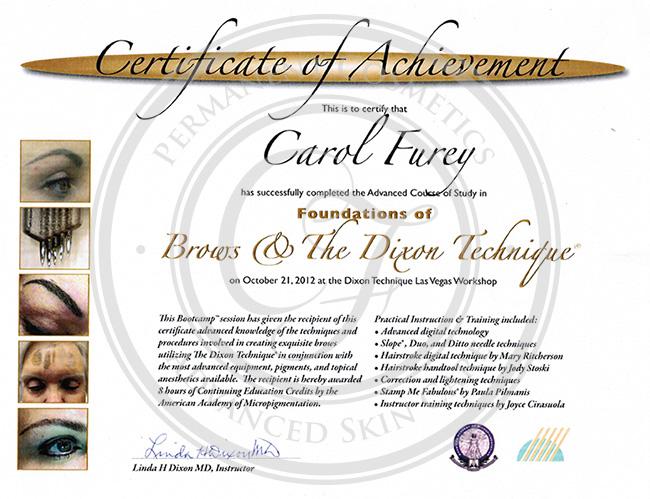 Certificado Carol Furey curso avanzado en técnica Dixon