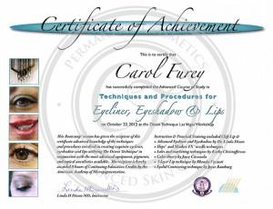 Certificado Carol Furey técnicas y procedimientos para delineador, sombras y labios