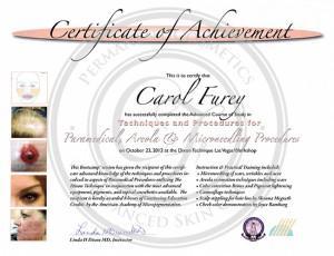 Certificado Carol Furey técnicas y procedimientos para areola, paramédico y microneedling
