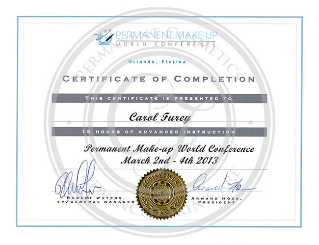 Certificado Carol Furey conferencia mundial de maquillaje permanente