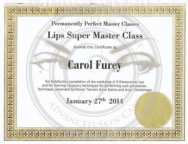 Certificado Carol Furey Super Master Class en labios