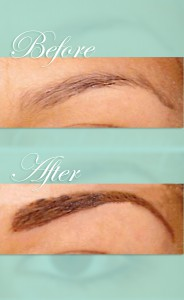 Cejas antes y después de maquillaje permanente